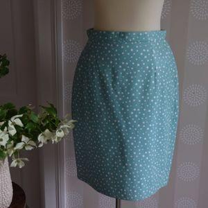 Escada blue and white polka dot leather skirt